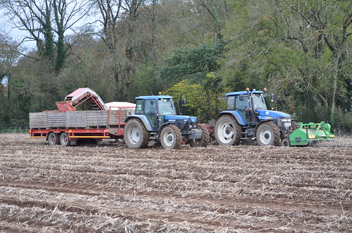 New Holland TM140 Tractor with a Reekie Clean-flow 2000 Potato Harvester & New Holland 8340 Tractor with a Herbst Trailer