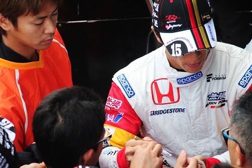 Takuma Sato during the pit walk at Suzuka Circuit