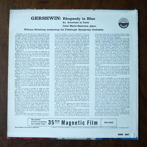 Backside Gershwin - Rhapsody In Blue, An American In Paris - Jesus Maria Sanroma Piano, Pittsburgh SO, William Steinberg, Everest SDBR 3067, 1960, 35mm Recording