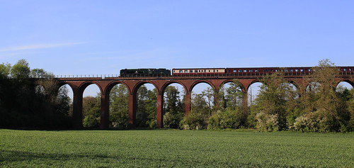 West Country class steam loco Braunton on Ledbury Viaduct