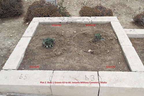 Plot 2 Row 1 Graves 63 to 66. Imtarfa Military Cemetery, Malya