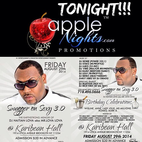 TONIGHT @ Karibean Hall - Brooklyn, NY... music video by: AppleNights.com