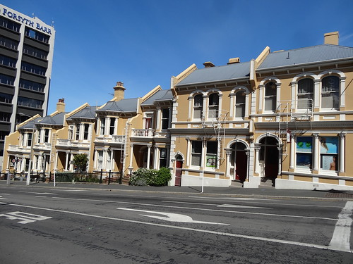 Dunedin. The Stuart Street Terraces. Built in 1901 as seven dwellings and two doctors rooms.