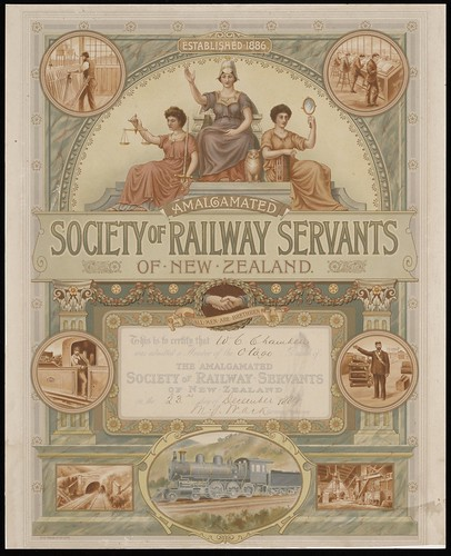 Amalgamated Society of Railway Servants of New Zealand :This is to certify that [W C Chambers] was admitted a member of the [Otago] Branch of the Amalgamated Society of Railway Servants of New Zealand on the [23rd] day of [December 1889. Signed M J Mack]