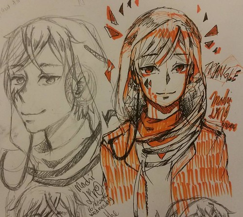 Triangle, same as Hakushi, hoodie guy lel idk if i want make him an oc... (really) while rot myself at McD, did late-night sketch/doodle _(:3j deym i got back past 1 am lel #doodle #sketch #mochilinart #mochilin24 #art #animestyle #traditionalart
