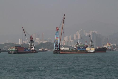 Midstream cargo handling off the Yau Ma Tei typhoon shelter