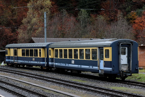 Steuerwagen BDt der BOB Berner Oberland Bahnen am Bahnhof Zweilütschinen im Berner Oberland im Kanton Bern der Schweiz