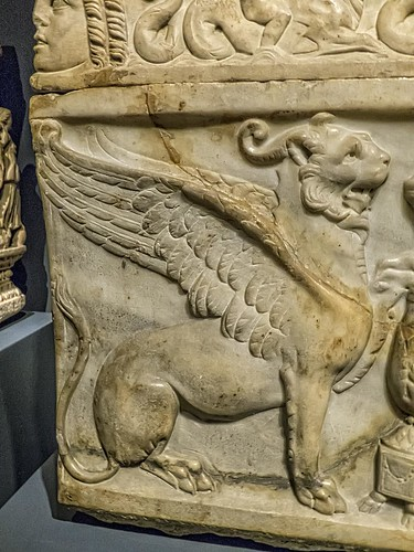 Closeup of panther-griffin on a Roman sarcophagus of individual who worshipped Dionysus Sabazius 140-170 CE