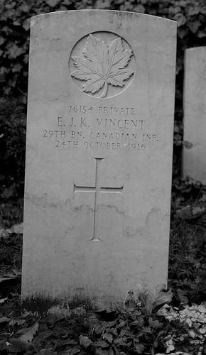 CWGC Private E J K Vincent 29th Bn Canadian Inf