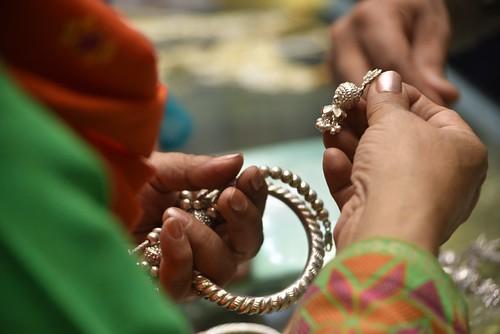 Silver for sale at Sarafa Bazaar, inside Fareed Gate