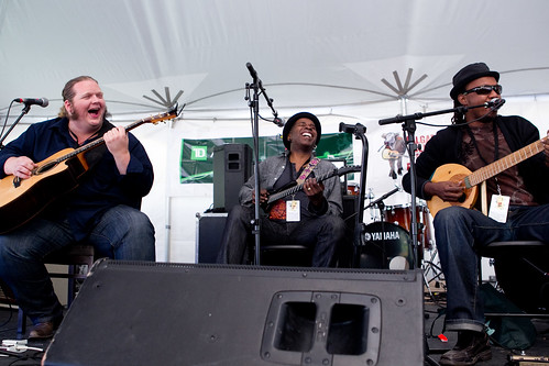 Matt Andersen, Vernon Reid and Mighty Popo Yuck it Up on TD Bank Stage @ Prince's Island Park. 2011 Calgary Folk Music Festival.