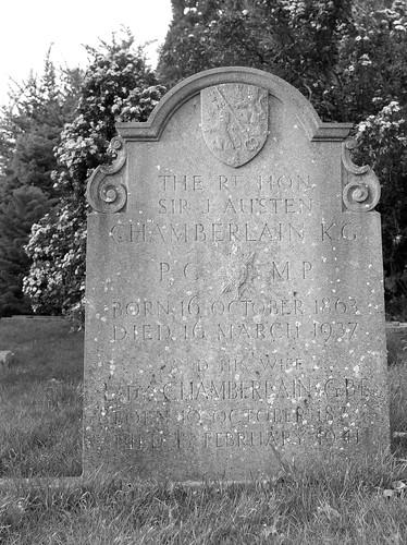The grave of the Rt Hon Sir J Austen Chamberlain K.G.