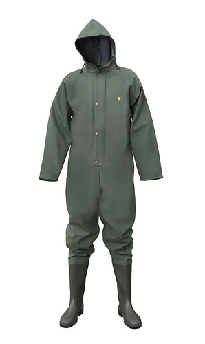 Waterproof suit with wellies.