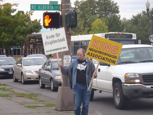 Dancing with signs for the King Neighborhood Association 9