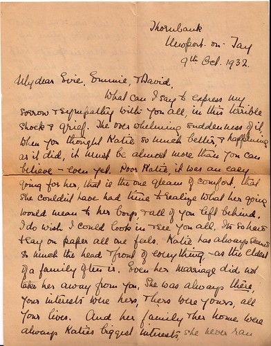 Letter Concerning the Passing of Katherine Kay Hume, Posted from Dundee, Scotland, October 10, 1932, page 1