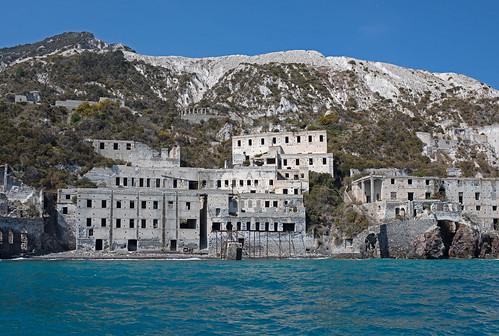 Lipari, a dismantled pumice mine from the sea.