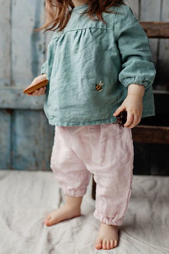 Linen Shirt, Mint Green Tunic, Linen Clothes, Hand Embroidery, Organic Kids Clothing, La Petite Alice, Linen Baby Tunic, Linen Toddler Tunic