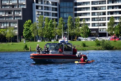 Coast Guard demonstrates cold water safety rescue on Lake Union, Washington