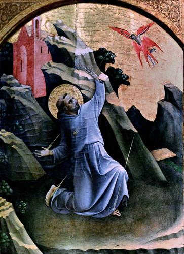 IMG_1249B Lorenzo Monaco 1370-1425. Florence.  Saint François recevant les stigmates. Saint Francis receiving the stigmata v 1420.  Amsterdam Rijksmuseum.