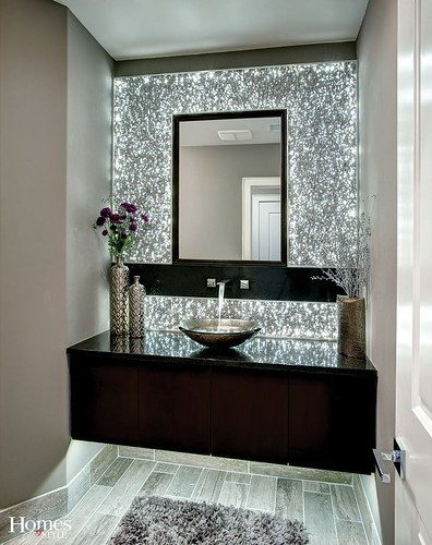 The centerpiece of this spectacular powder bath is the L.E.D. backlit extruded a…
