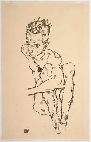"""Egon Schiele's """"Seated Male Nude (Self-Portrait),"""" from 1917,  black crayon on paper"""