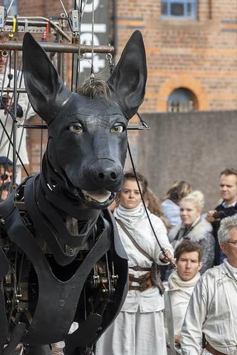 Giant dog Xolo, Chaloner Street, Liverpool, UK