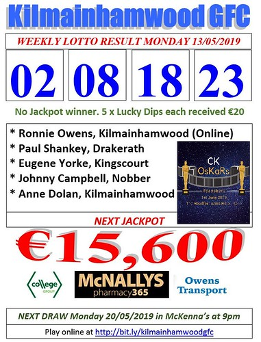 Kilmainhamwood GFC Lotto Results Sheet 13.05.19