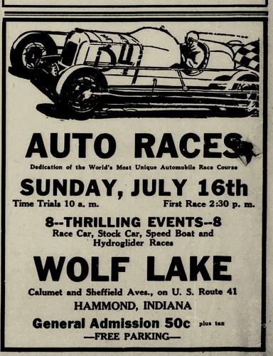 Wolf Lake Speedway Opening July 16 1933