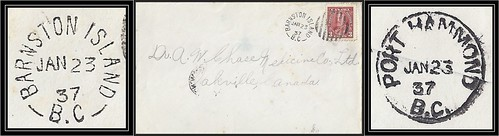 British Columbia / B.C. Postal History - 23 January 1937 - BARNSTON ISLAND, B.C. (split ring / broken circle cancel / postmark) via Port Hammond, B.C. to Oakville, Ontario, Canada