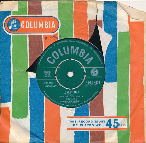 IMG_0009 Record 45 RPM Vinyl Single Music Collection Columbia Paul Anka Lonely Boy 1959