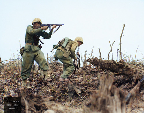 Marines move forward on Wana Ridge, Okinawa