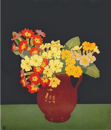 John Hall Thorpe (Australian, 1874-1947) Polyanthus, Color Woodcut.