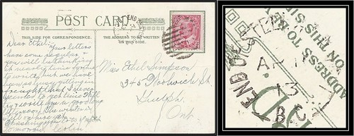 British Columbia / B.C. Postal History - 10 April 1913 - END  OF STEEL G.T.R. WEST, B.C. (split ring / broken circle cancel / railway postmark) to Guelph, Ontario