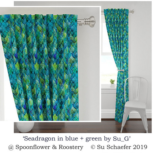 'Seadragon in blue + green by Su_G': curtain panel mockup detail (2 of 2)