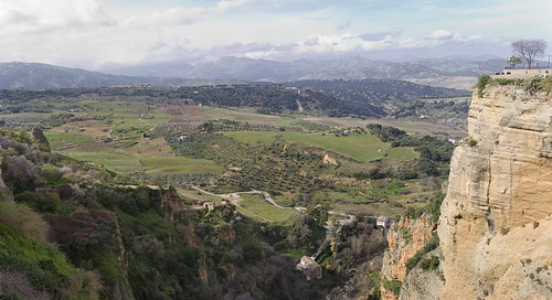 Panorama from the bridge Puente Nuevo - view over the valley