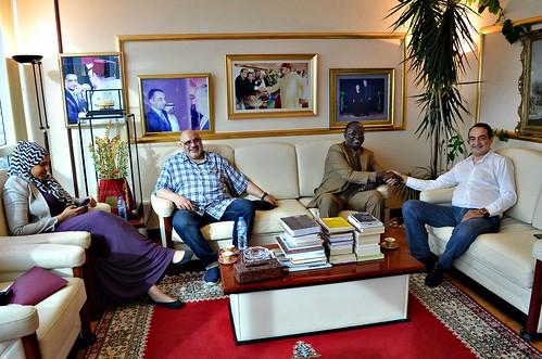 Mohamed Dekkak with Mustapha Bojang, Habib Ghanim and Safia Ghanim beautiful picture on their visit in Adgeco Group Abu Dhabi UAE