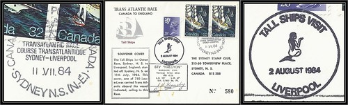 Nova Scotia Postal History / Trans Atlantic Tall Ships Race - 11 July 1984 to 2 August 1984 - SYDNEY, N.S. (pictorial cancel / postmark) to Liverpool, England (#580 of 750)