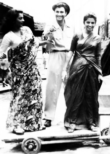 Dev Anand, Sheila Ramani and Kalpana Kartik on the sets of Taxi Driver, 1954