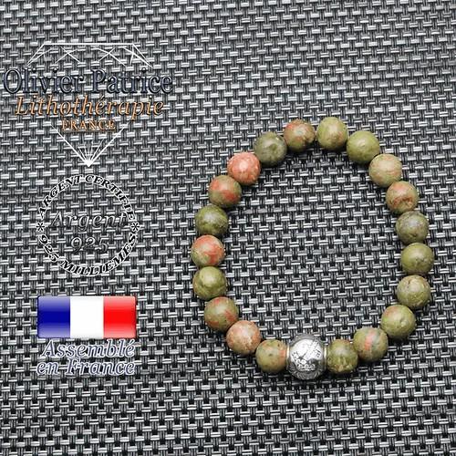 Bracelet unakite et son signe astrologique en argent 925