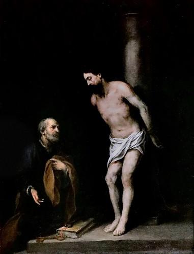 IMG_8511Z Bartolome Esteban Murillo. 1618-1682. Séville. Le Christ à la colonne avec Saint Pierre.   Christ at the column with Saint Peter. Louvre. Peinture sur obsidienne.   obsidian painting.