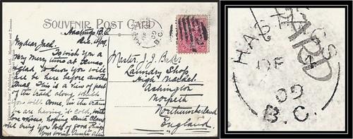 British Columbia / B.C. Postal History - 4 December 1909 - HASTINGS, B.C. (split ring / broken circle cancel / postmark) to Ashington, England