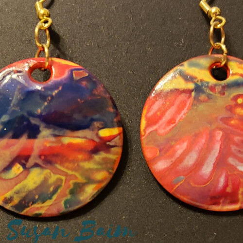 Polymer clay earrings, made with premo, mokume gane, and clear liquid clay