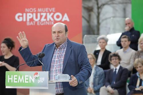 20190522 Mitin Donostia. Eneko Goia, Eider Mendoza, Markel Olano, Iñigo Urkullu, Andoni Ortuzar 0001