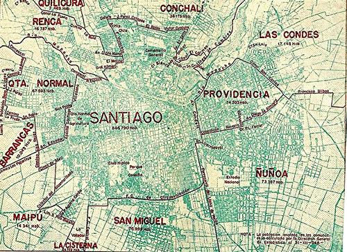 En este mapa vemos la distribución de las comunas de Santiago a 1944, por esos años Conchalí también cambió muchos nombres de calles
