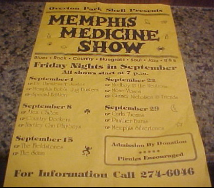 Early 1990s? flyer for Memphis Medicine Show, Overton Park Shell, Memphis, Tennessee