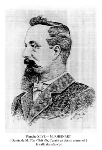 Ông RHEINART, Tổng trú sứ Bắc và Trung Kỳ, người đại diện chính phủ Pháp làm lễ phong vương cho vua Hàm Nghi ngày 17-8-1884