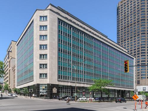 Blue-green panels of 1962 offices of Agence du Revenu du Canada.