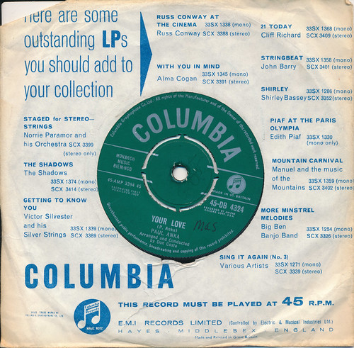 IMG_0010 Record 45 RPM Vinyl Single Music Collection Columbia Paul Anka Your Love 1959