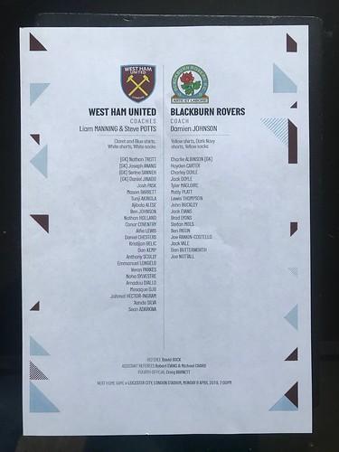 2018-19 West Ham United U23s 1 v 3 Blackburn Rovers U23s