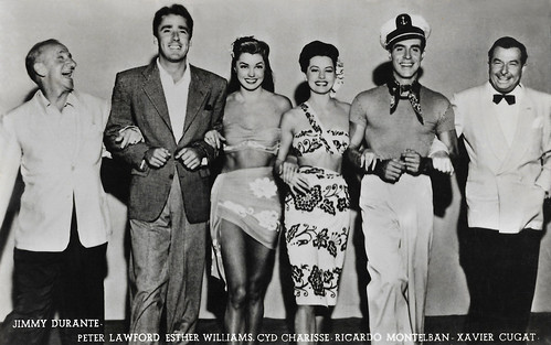 Jimmy Durante, Peter Lawford, Esther Williams, Cyd Charisse, Ricardo Montalban and Xavier Cugat in On an Island with You (1948)